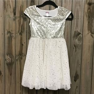 Justice Tulle Dress White and Gold